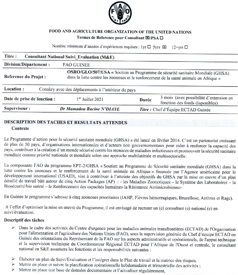 Offres d'emploi FAO en guinée p1