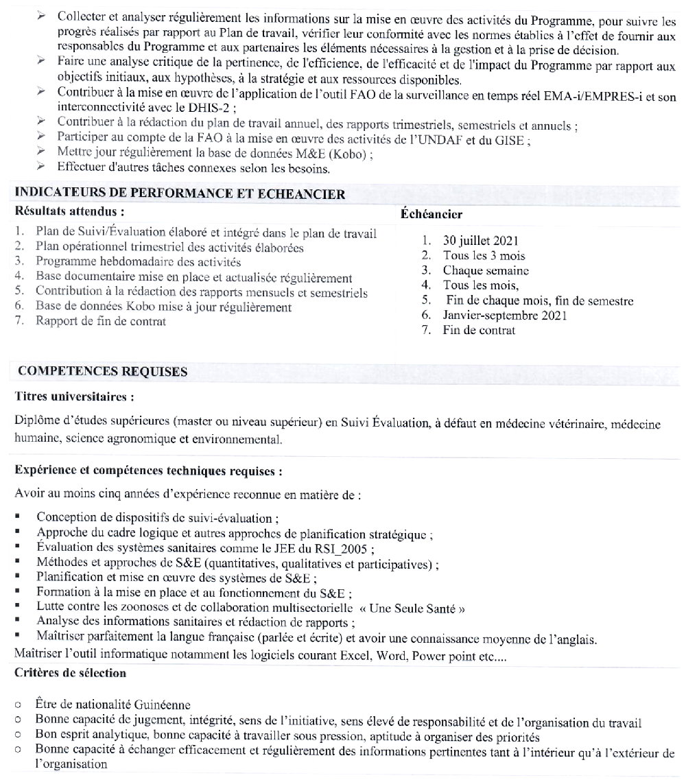 Offres d'emploi FAO en guinée p2