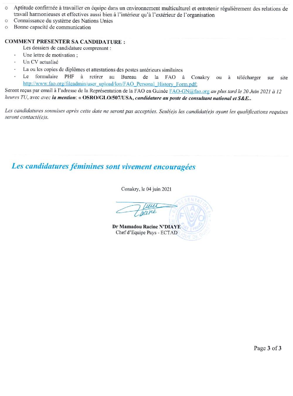 Offres d'emploi FAO en guinée p3
