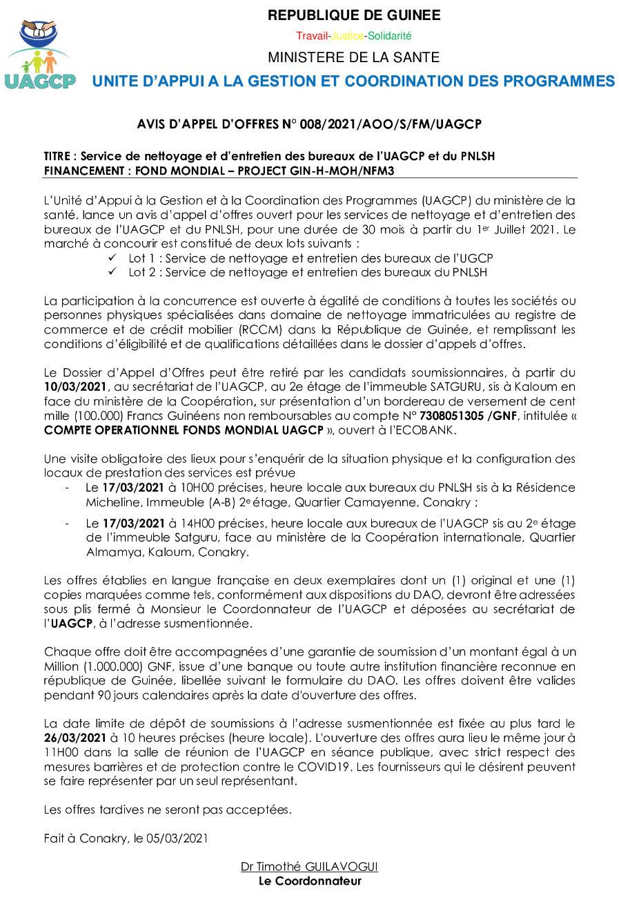 Offre d'emploi en guinée conakry