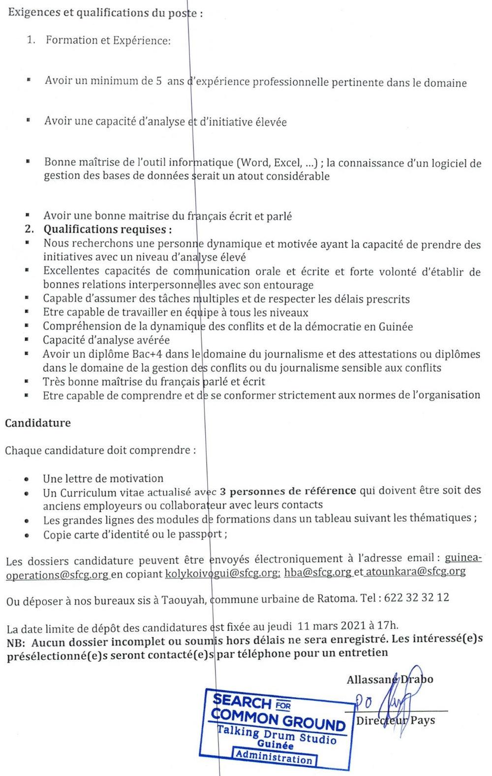 Offres d'emplois en guinée 2021 p3