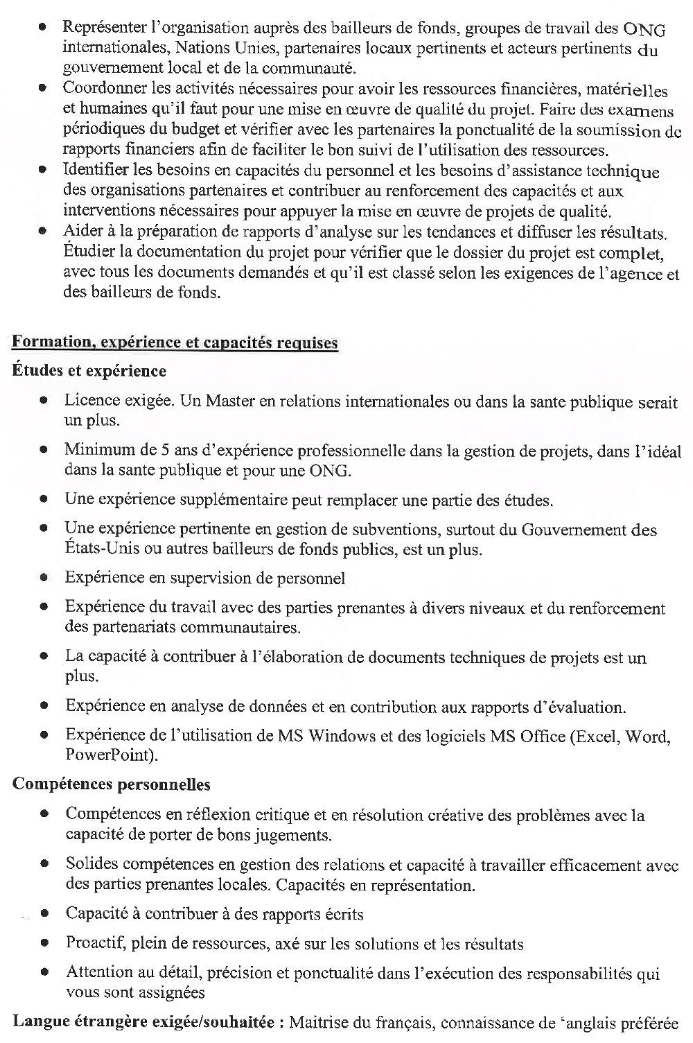 Offres d'emplois en Guinée conakry Gestionnaire de projet p2