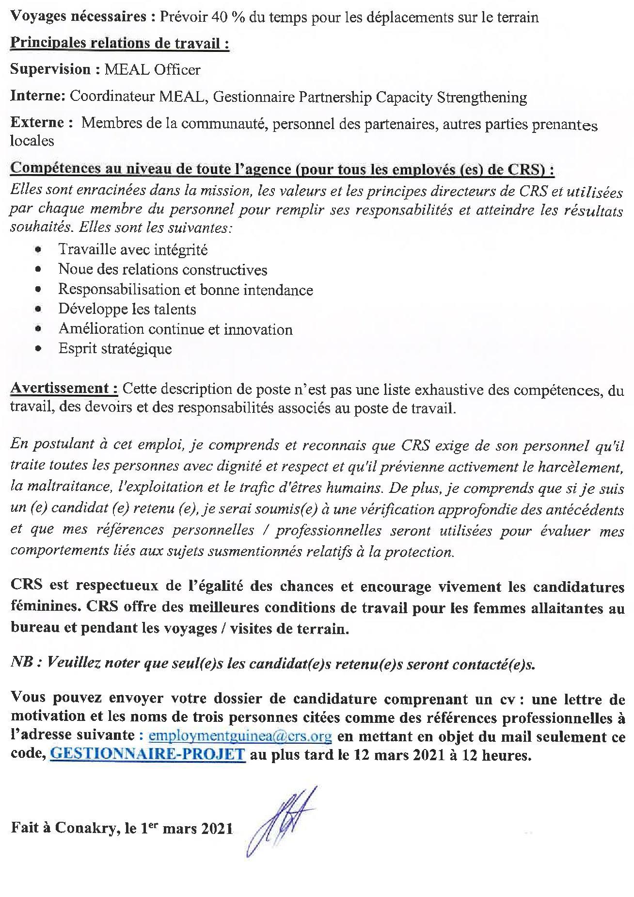 Offres d'emplois en Guinée conakry Gestionnaire de projet p3