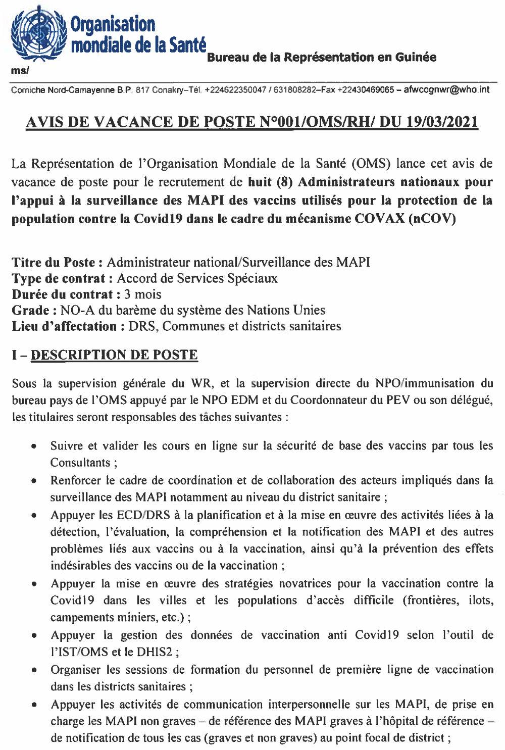 Offres d'emplois en guinée OMS Santé 1