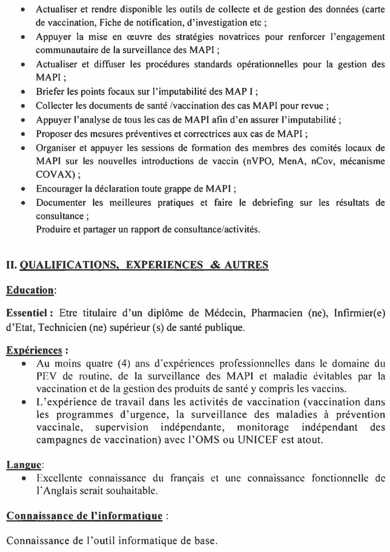 Offres d'emplois en guinée OMS Santé 2