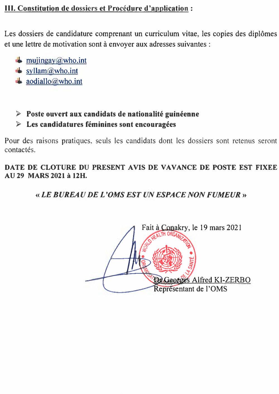 Offres d'emplois en guinée OMS Santé 3
